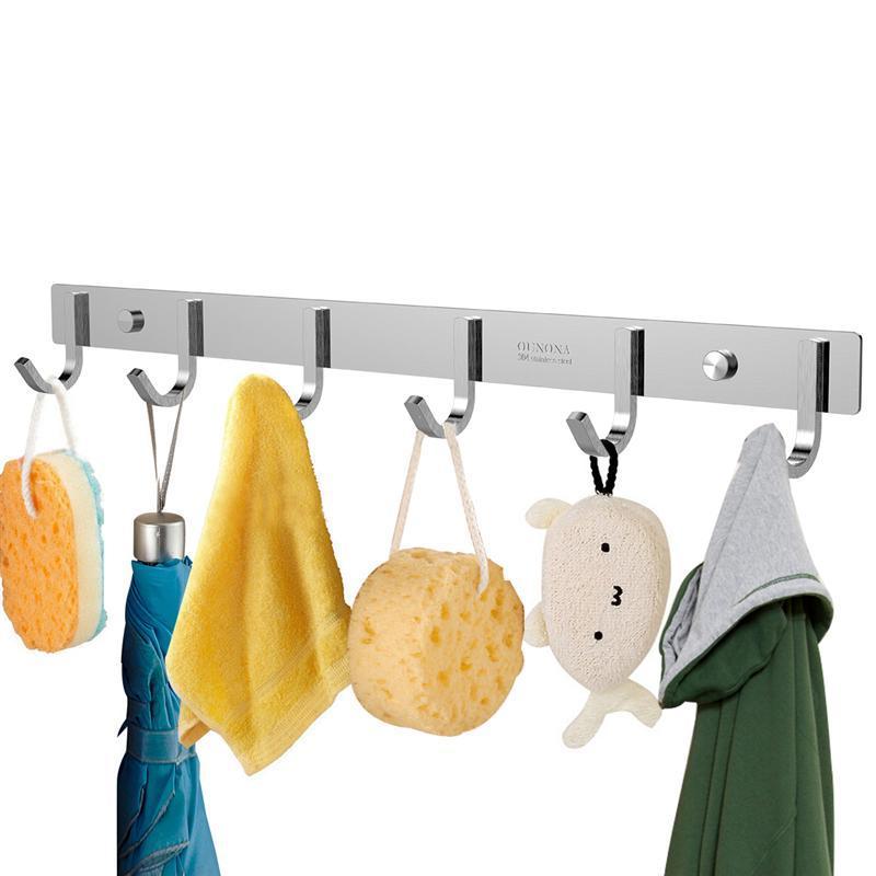 Großhandel Robuste Edelstahl 304 Hakenleiste Kleiderständer mit 6 Haken Home Storage Organisation für Schlafzimmer / Badezimmer