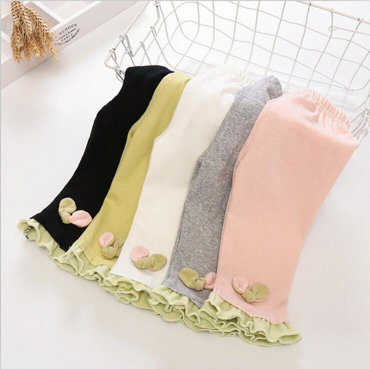 Girls Leggings Kids Modal Cotton Tights Children Ruffle Candy Color Cropped Trousers Summer Elastic Safety Pants Anti-light Shorts PY567