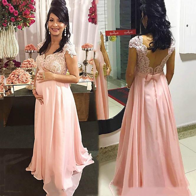 Arabic Lace Maternity Evening Dresses Cap Sleeves Chiffon Prom Dresses Appliques Beaded Cheap Formal Custom Made Gowns