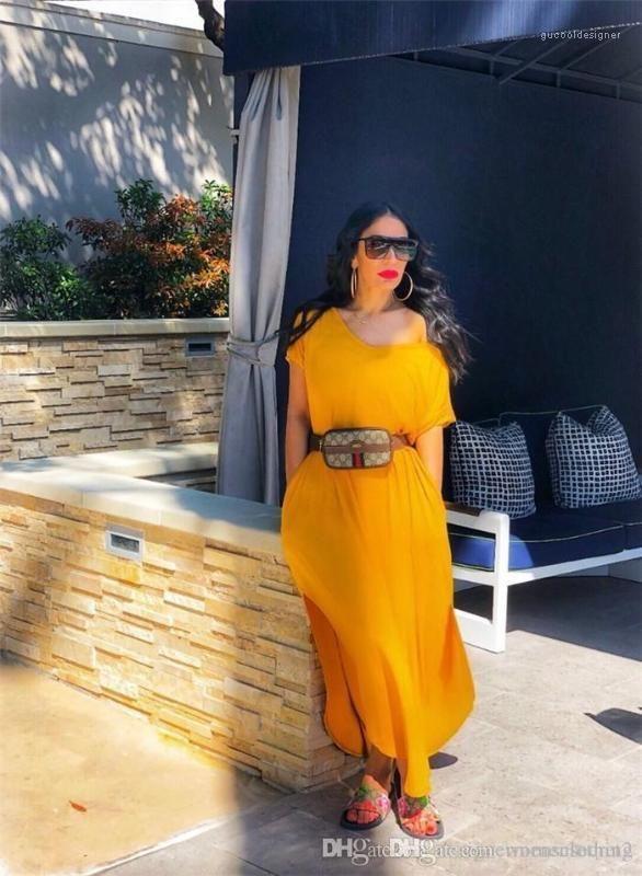 Slash pescoço manga curta vestidos assimétricos tornozelo comprimento boêmio vestido moda cacual verão vestidos soild cor split