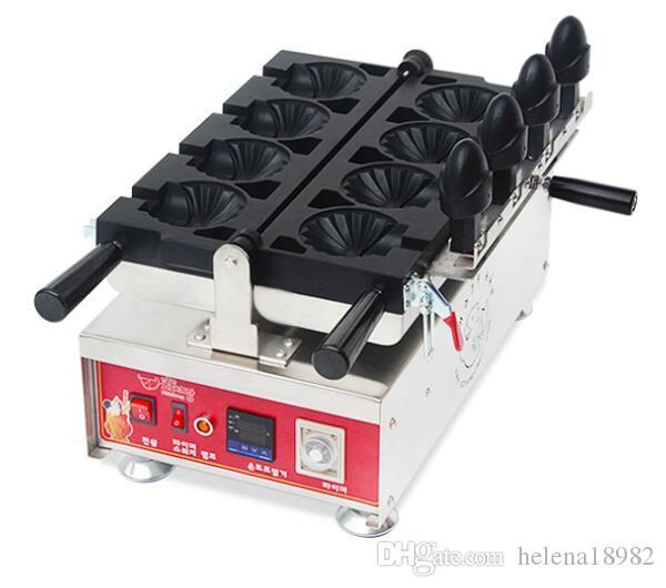 Yüksek verimli kabuk şeklinde waffle makinesi, ticari Dondurma Taiyaki yapıcı makine, dijital gösterge sıcaklık kontrol waffle makinesi