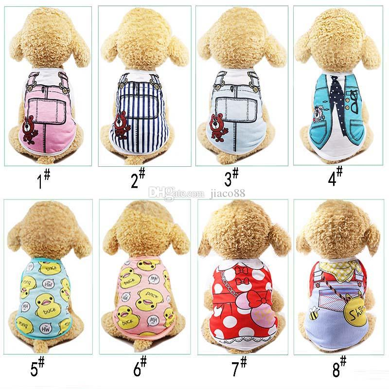 Cute Pet Dog Cat T-shirt Vest Clothes Small Cotton Puppy Soft Coat Jacket Summer Apparel Cartoon Costume Print Clothing Outfit Pet Suppy