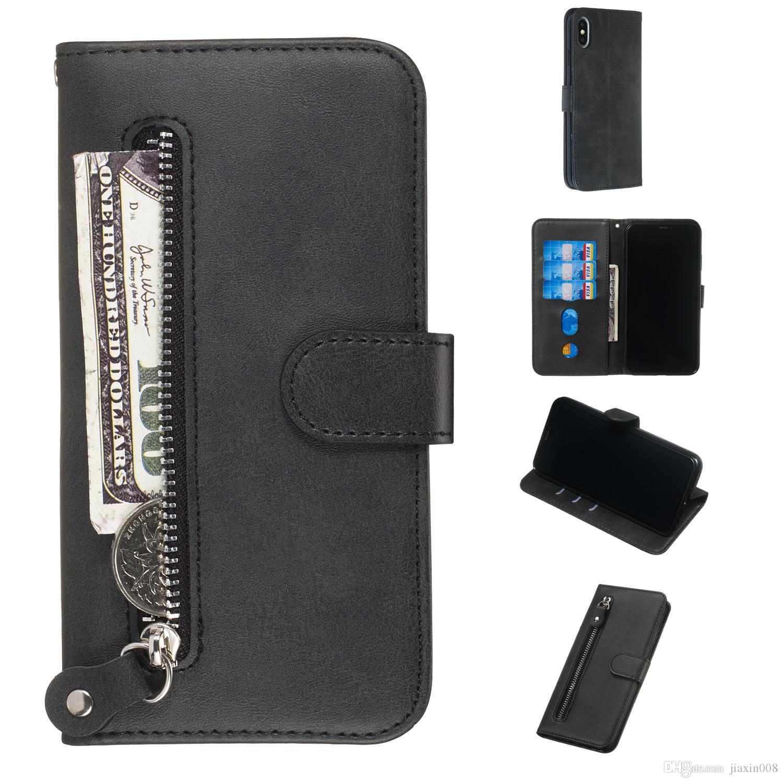 Funda de cuero con cremallera pura para iPhone X / XS / XR / XS Max / iPhone 11 / iPhone 11 Pro / iPhone 11 Pro Max Cover Filp Stand Wallet