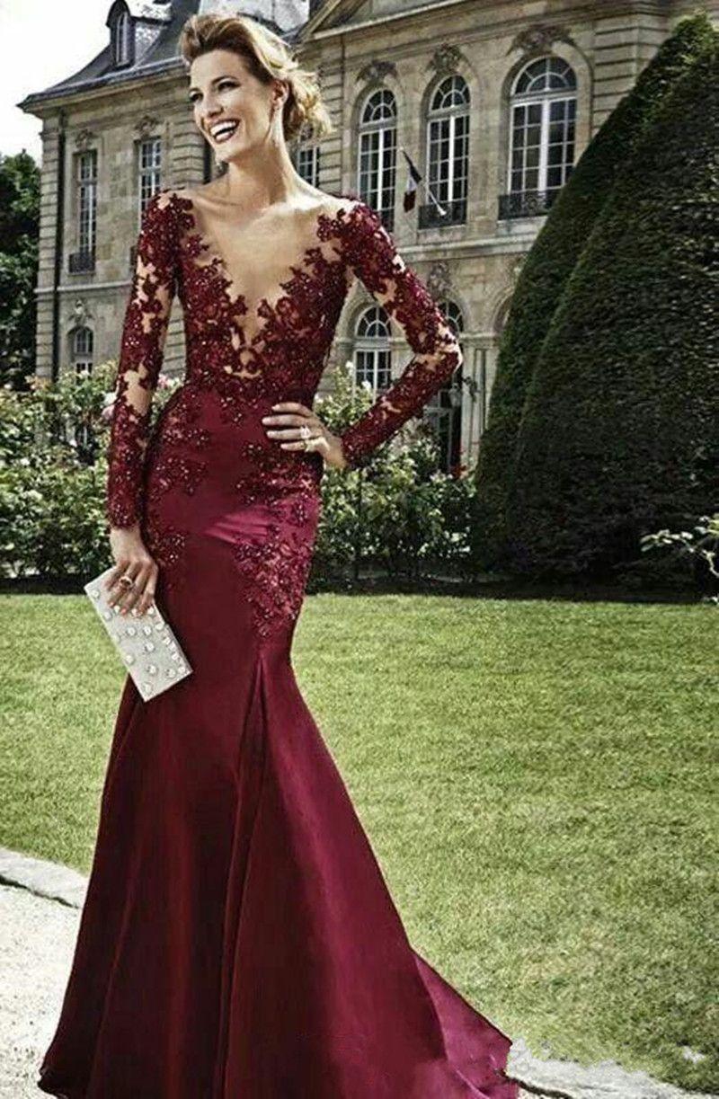2020 New Vestidos De Dark Red Abendkleid Burgund langen Ärmeln Spitze Perlen Nixe-Abschlussball-Kleid mit tiefem V-Ausschnitt-formales Kleid