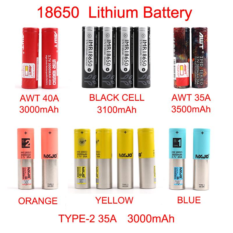 Rechargeable battery New Arrival AWT 18650 Battery 3000mAh-3500mAh for Mix brand BLACK CELL MXJO TYPE 1 2 lithium battery By FedEx