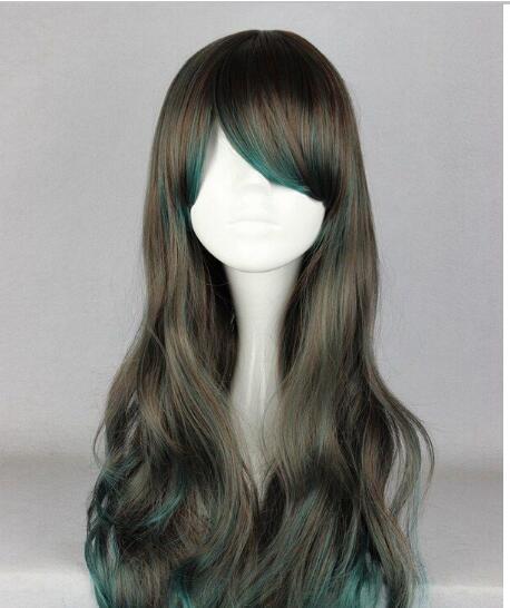 무료 배송 + + 핫 긴 곱슬 갈색 혼합 녹색 로리타 합성 머리 코스프레 여자의 가발 판매