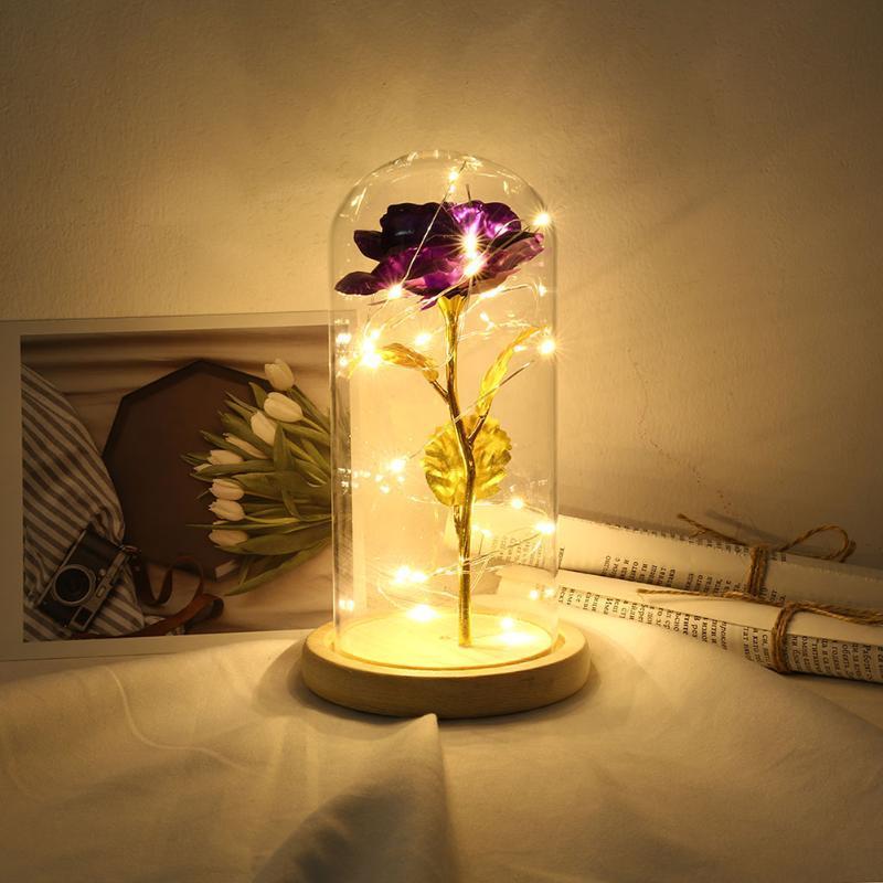 20LED 3 Искусственная роза Цветы Фея гирлянд Стеклянные купола Энергосберегающие лампы Night Творческий цветок Декоративные украшения
