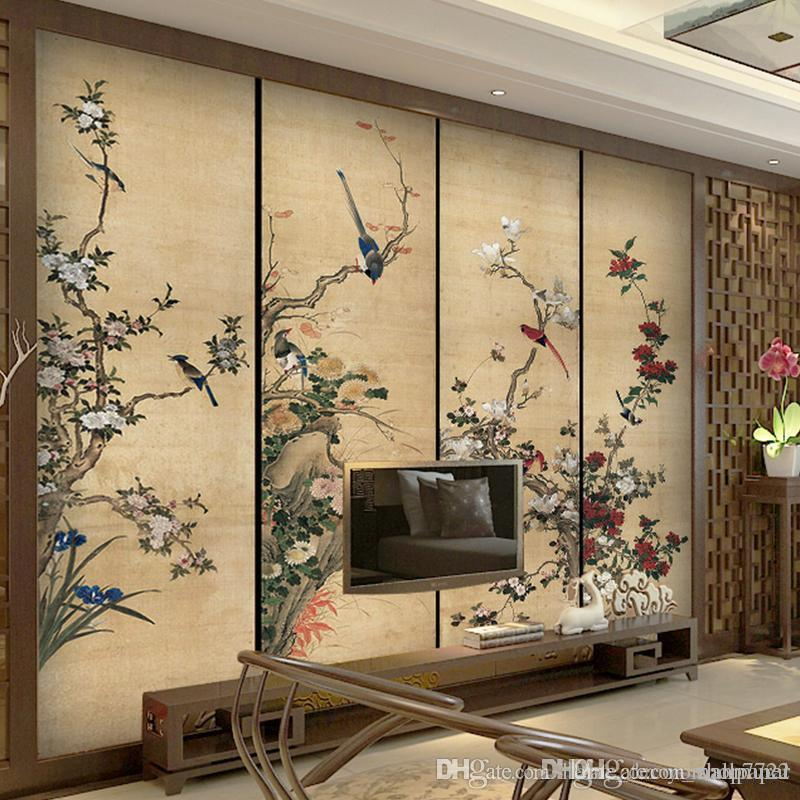 Nuevos productos papel tapiz foto 3D TV Mural de pared para fondo de TV tinta grande flores y pájaros frescos estilo retro chino para sala de estar