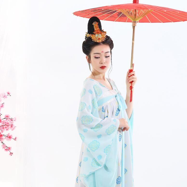 Sexy случайного Ежедневно Hanfu свежего древнего платье долго фея платье Tang Dynasty Ru юбка реалистичного платье Imperial наложница дворец красота
