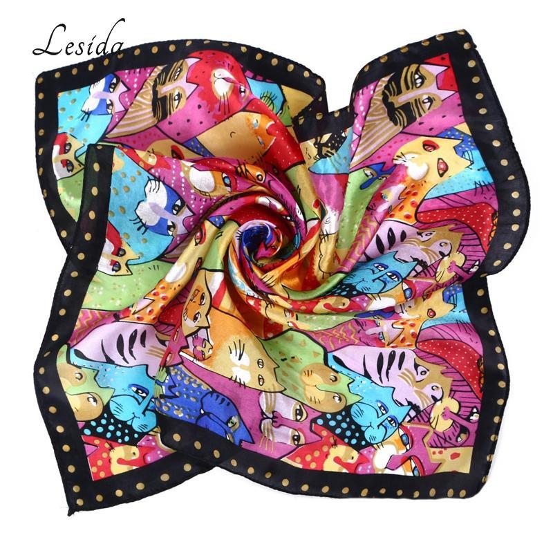 Шея Silk Cat животные печать шарф для женщин Моды шейного платочка площади головной убор Foulard Femme Малого сатин шарфов 5035