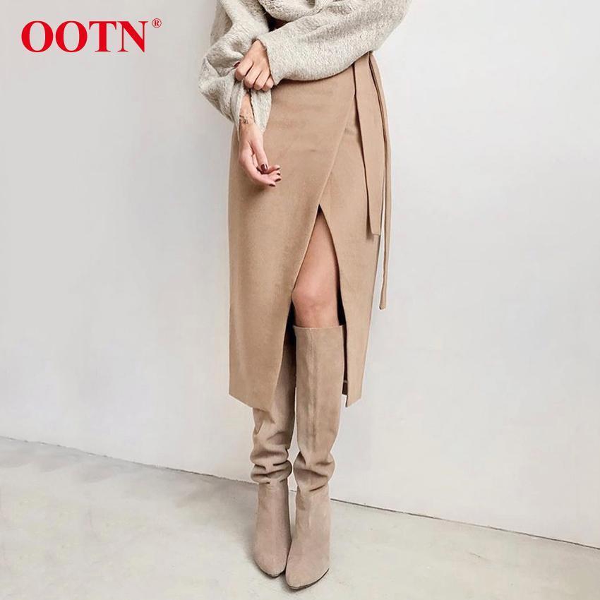 Casual Khaki Suede saia longa Mulheres Outono Inverno Enrole Saia Lace Up Women cintura alta saia de Midi Escritório senhoras elegantes