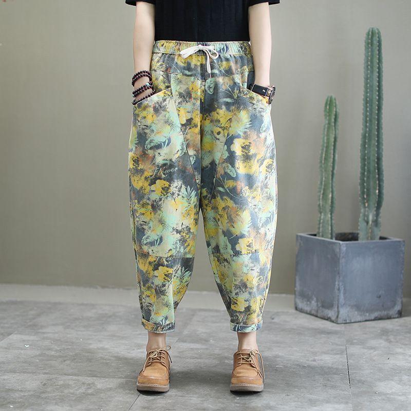 Новые свободные джинсы женщин 2020 весна осень Новый Повседневный ретро печати джинсы панелями Большой размер Nine-Point Лоскутная Морковь штаны