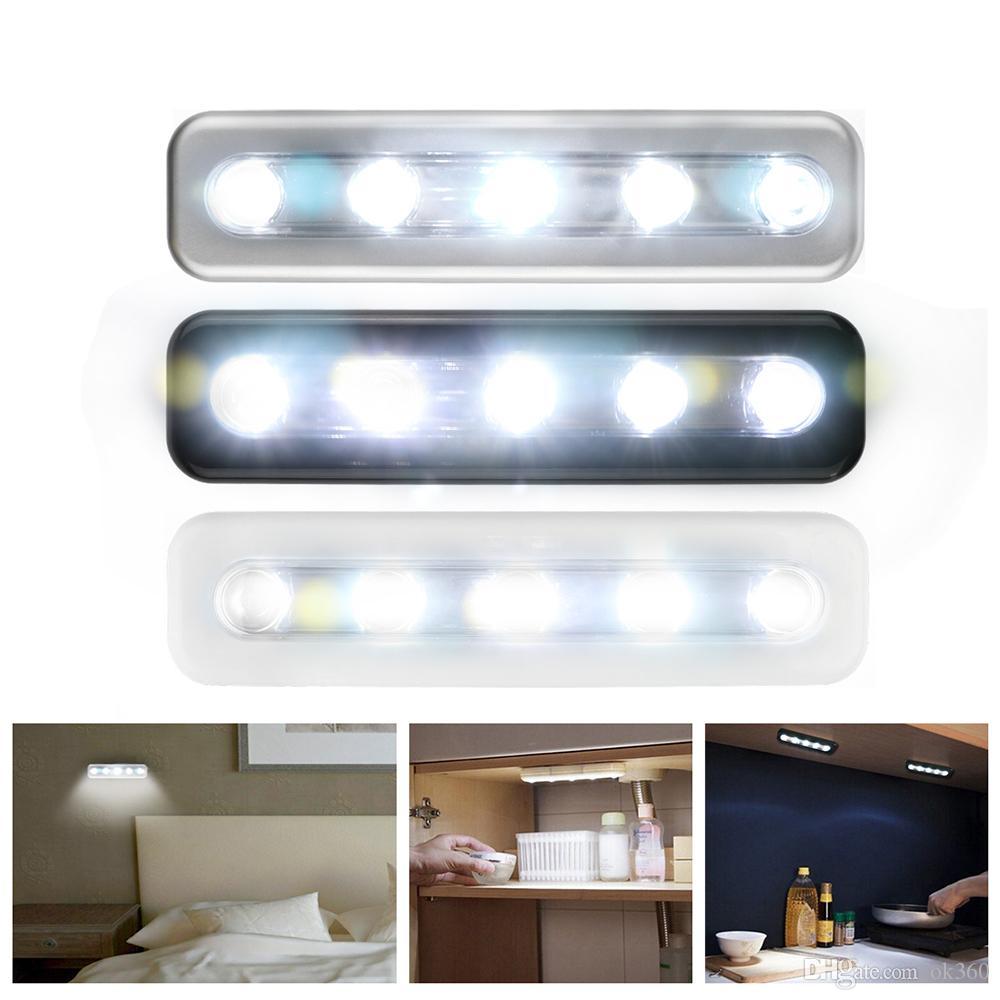 Mini LED Tap illumina 5 LED lampada da parete Self-Stick Wireless emergenza Armadio Cabinet Spingere luce di notte Closet luce