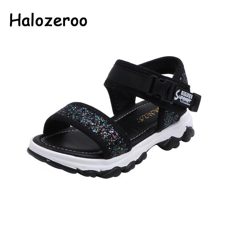 Summer Kids Beach Sandals Children Glitter Princess Sandals Baby Girls Soft Dress Shoes Black Brand Fashion Casual Shoes