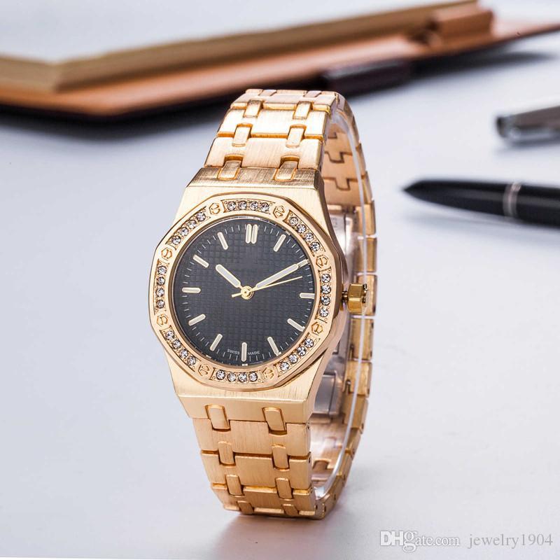 New Fashion womens diamond watch Ladies designer luxury watches Sliver Stainless steel watchband Royal Oak wristwatch montre de luxe Clock