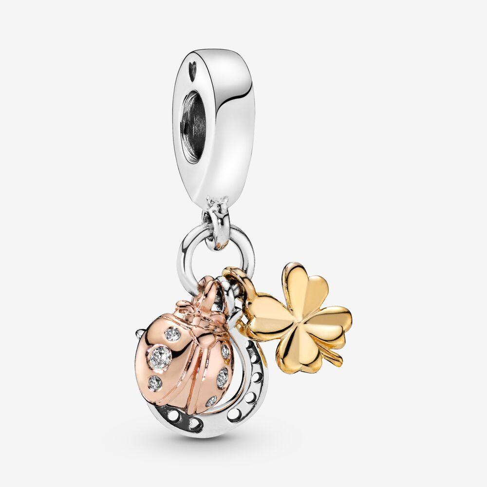 100% 925 sterling silver charms ciondolo a ferro di cavallo a ferro di cavallo, trifoglio e coccinella misura orologio europeo originale braccialetto moda moda gioielli accessori