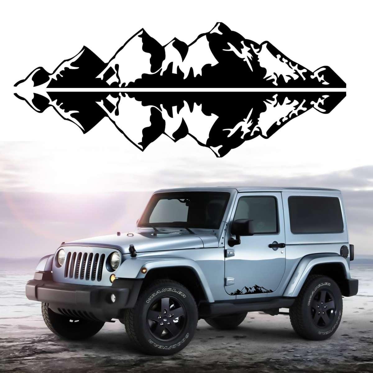 1 pair العالمي سيارة جبل سلسلة ملصق الفينيل الشارات ملصق ل جيب suv شاحنة 76x16.8 سنتيمتر 30 x 6.6 أبيض أسود