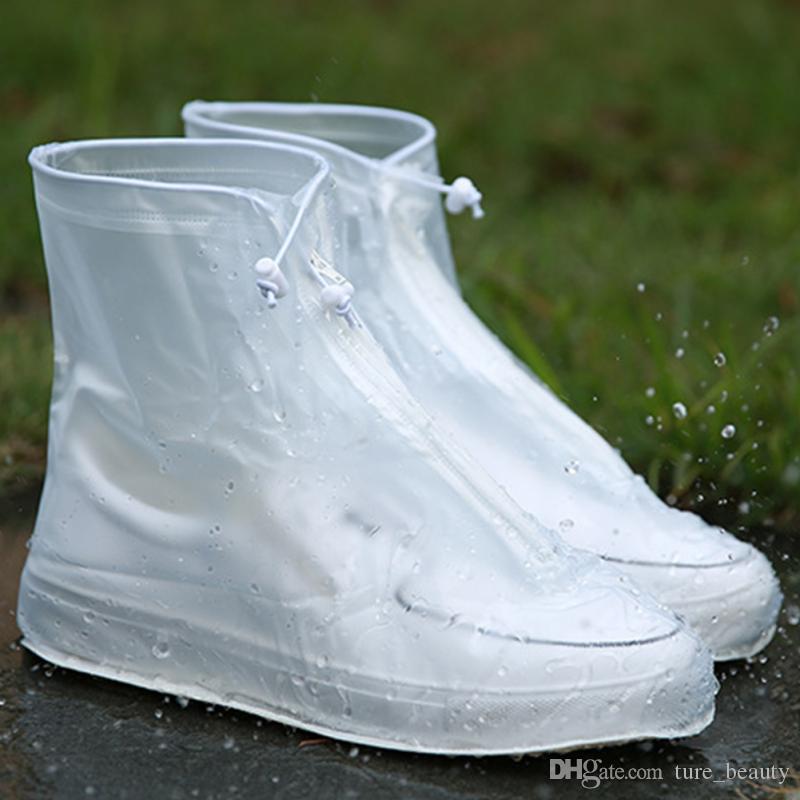 Pioggia di donne degli uomini di alta qualità impermeabili Tacchi Stivali copertina Boots riutilizzabili Shoes Covers spesse antiscivolo Piattaforma Rain Boots 5pairs / 10pcs