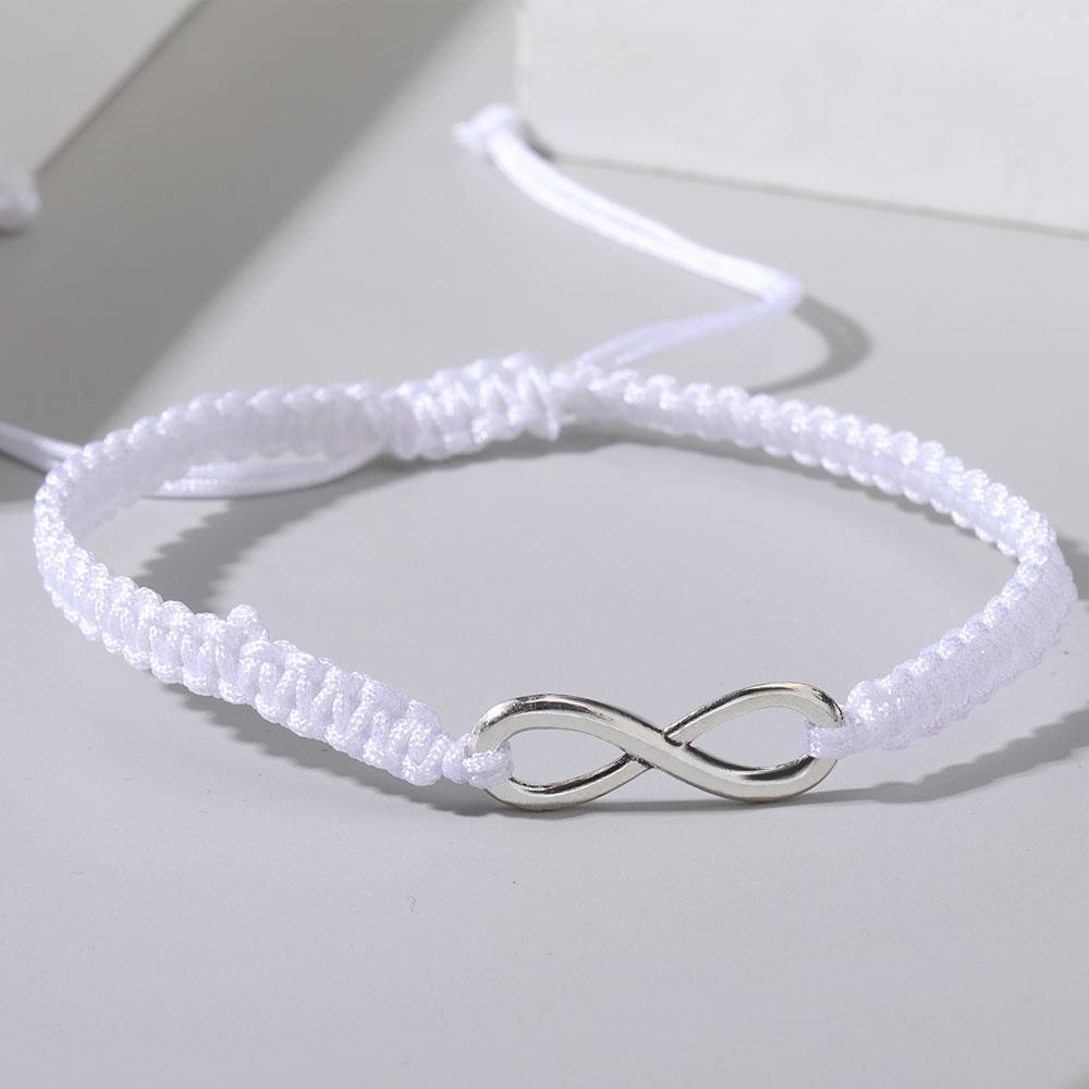 جديد الرقمية 8 سحر اليدوية مضفر سوار للنساء الأزياء أسود أبيض حبل إنفينيتي سيمبو أساور شخصية حزب مجوهرات هدية