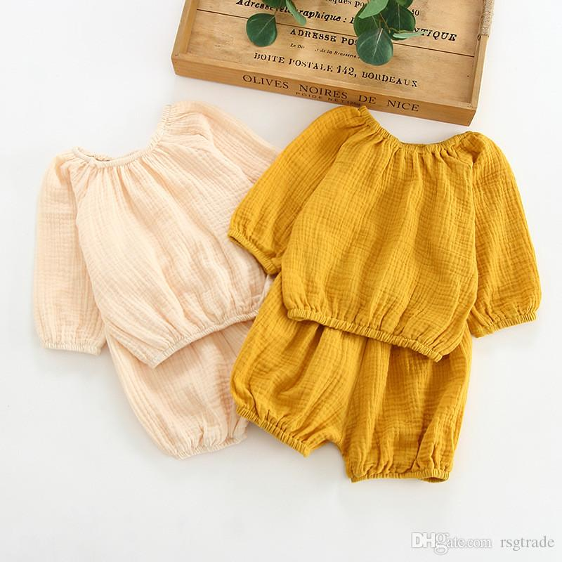 INS Summer Toddler Kids Girls Suits with Bloomers 2pieces Set Blank Yellow Beige Long Sleeve Organic Cotton Autumn Kids Clothing for 0-2T