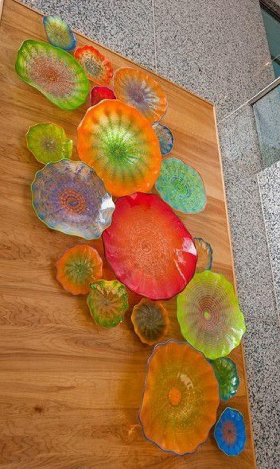 2020 yaratıcı 100 % el yapımı üflemeli cam duvar lambaları üflemeli cam Sanatı duvar plakaları otel odası dekorasyon için