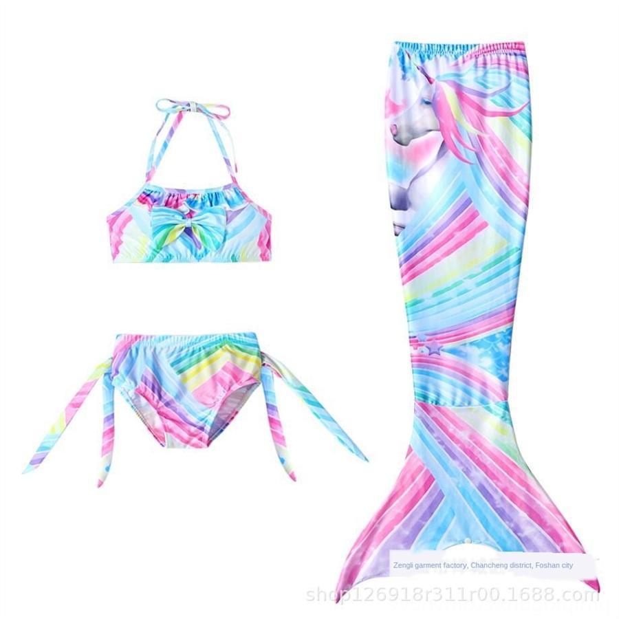 Cola x8443 Niños sirena traje de baño partido de las muchachas de la sirena con el desgaste bikini traje de cola de la aleta de la nadada del niño Trajes de baño