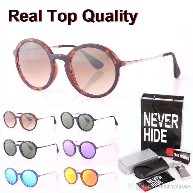 Gafas de sol de calidad superior redonda Hombres Mujeres marca de diseño de lente de cristal Moda Hombre Mujer con la caja original, paquetes, accesorios, todo!