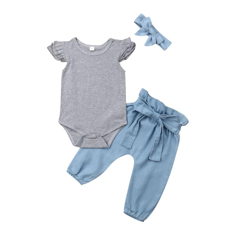 Лето Новорожденного Baby Girl Clothes Solid Color Сборка Ромперы + BOWKNOT Брюки + оголовье 3шт комплект обмундирование