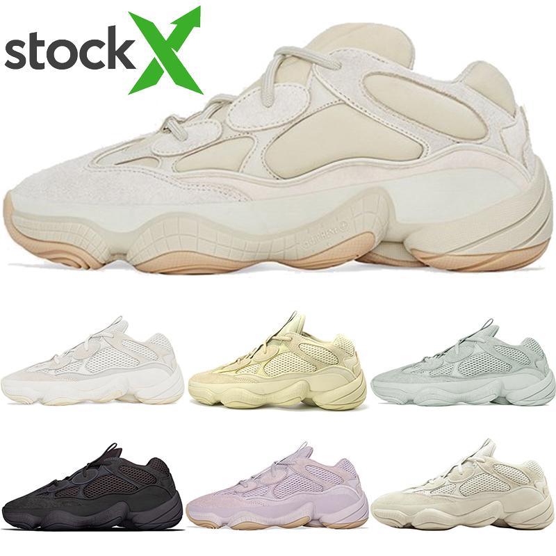 Hombres Mujeres Zapatos corrientes nuevos Desierto de piedras Soft Vision Kanye West Rata 500 de calidad superior 2020 del hueso blanca Blush Sport zapatillas de deporte con la caja