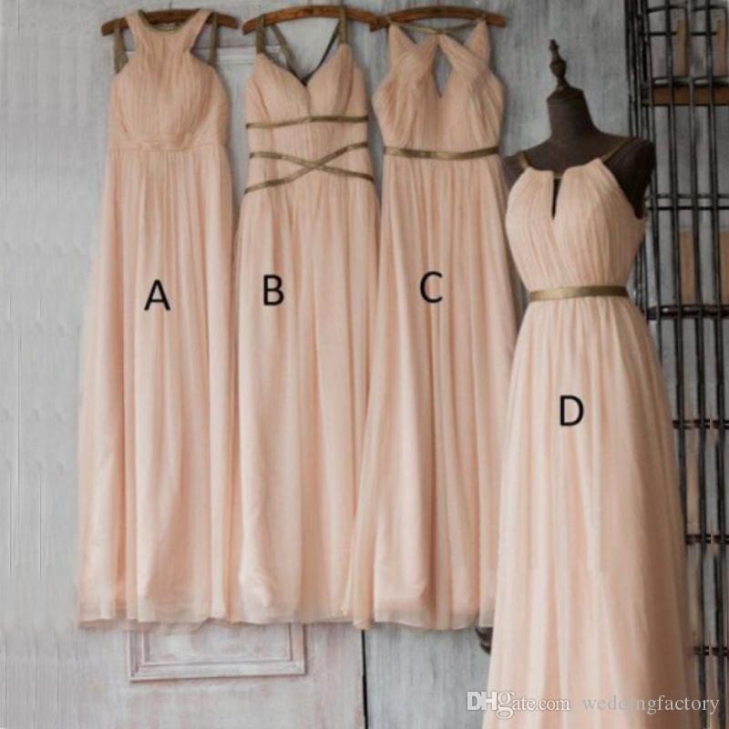 Blush Pink Long Chiffon Different Styles Bridesmaid Dress Halter Sleeveless Ruched Wedding Party Guest Gowns Custom Made