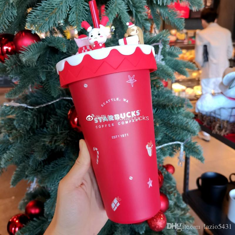 Nueva Starbucks reunión de Navidad alegre paja roja taza de café 16 oz de acero inoxidable taza de café en el coche de la puerta hacia fuera taza Acompañando portátil
