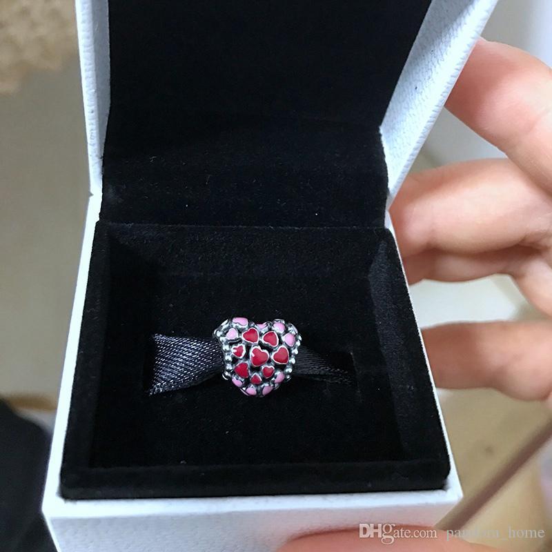 رومانسية سحر الخرز الأحمر مناسبة لباندورا 925 مصمم الفضة الفاخرة سوار DIY مطرز الأصلية مربع مجموعة هدية العيد