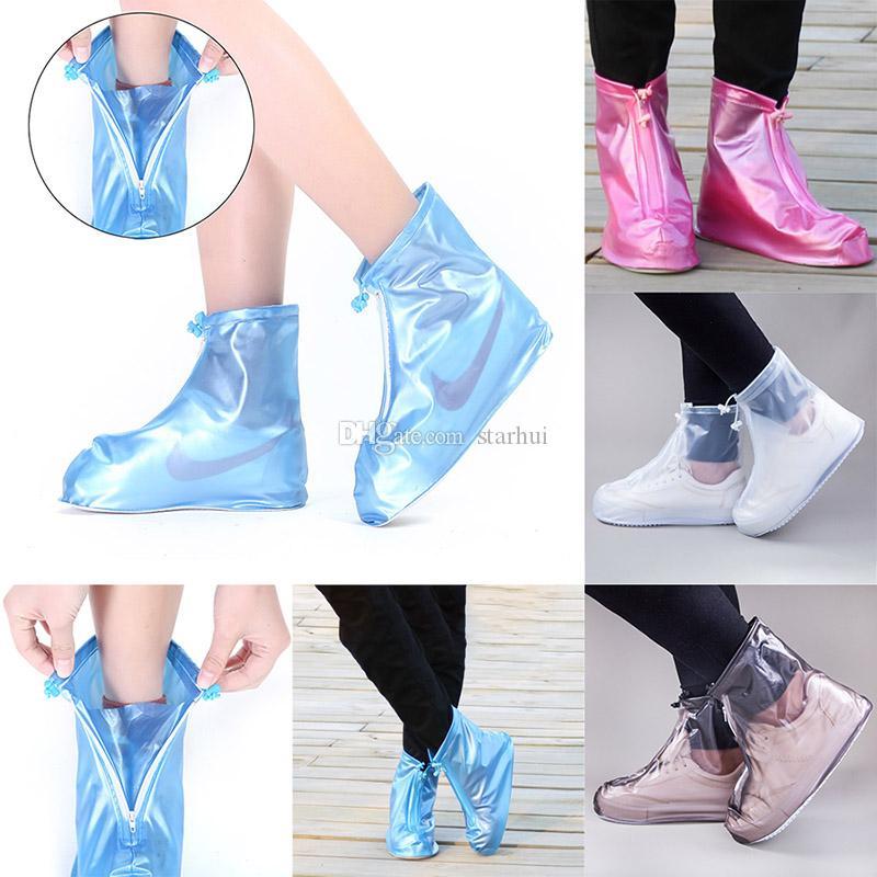 Los hombres y las mujeres los zapatos de la cubierta impermeable a casa zapatos impermeables cubren los cargadores de lluvia antideslizantes botas de lluvia engrosamiento cubren WX9-1772