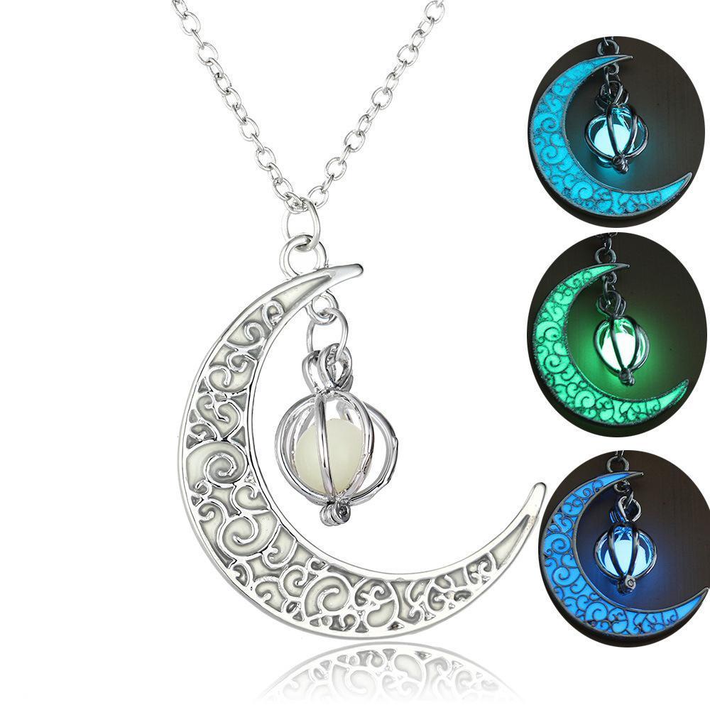Argento placcato perline di pietra dei monili delle donne luminoso pendente luna incandescente collana di fascino della gemma Choker pendente regali