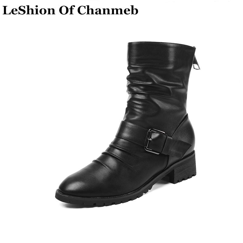 2020 Soft PU Leather Biker Boots For