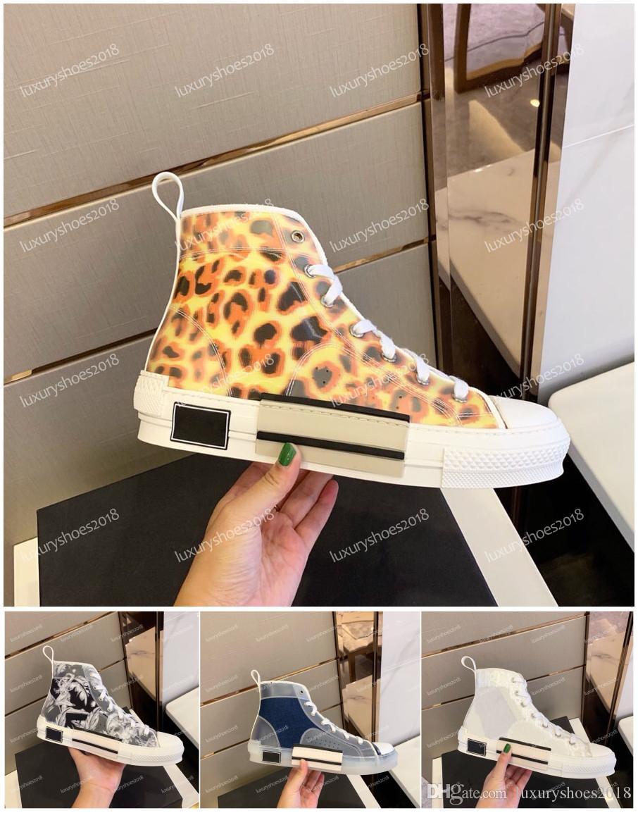 أعلى جودة عالية أعلى عارضة الأحذية حذاء رياضة الزهور والتطريز الفني قماش B23 المائل المدربين للمرأة اللباس رجالي أحذية رياضية Chaussures