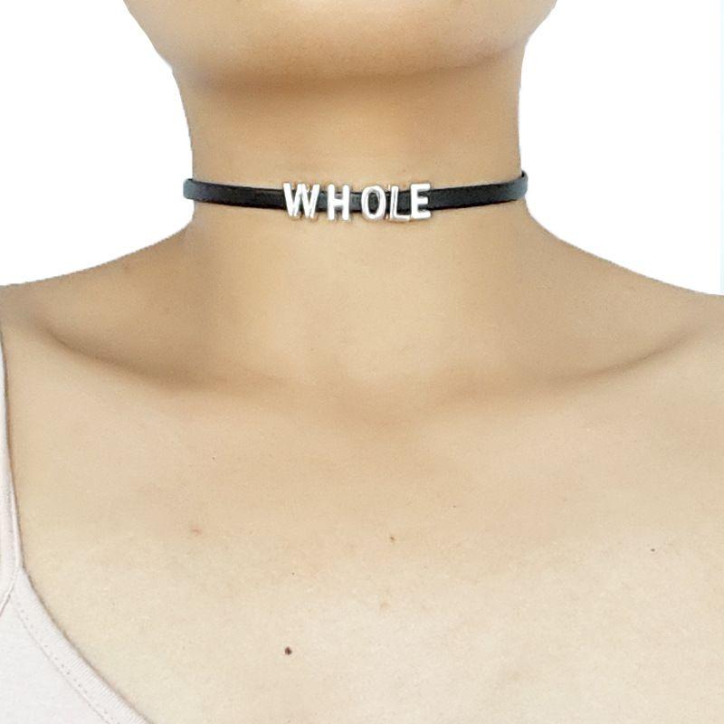 Готический стиль Letter Whole Sale Черный кожаный чокер и цепочка с очаровательными подвесками подарок ей