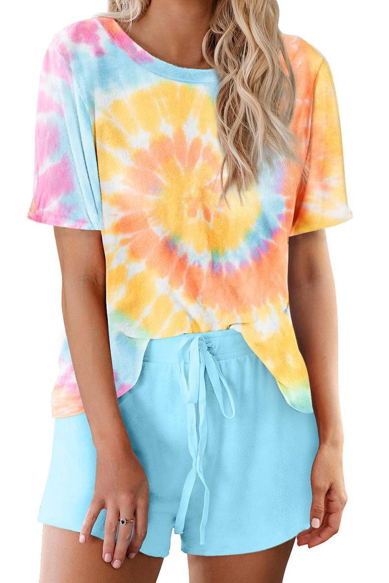 DHL para pijamas Tiedye para la tripulación de la muchacha corbata tinte pijama corto Define goteo por goteo teñido anudado de la camisa brillante resplandor nueva hotclipper