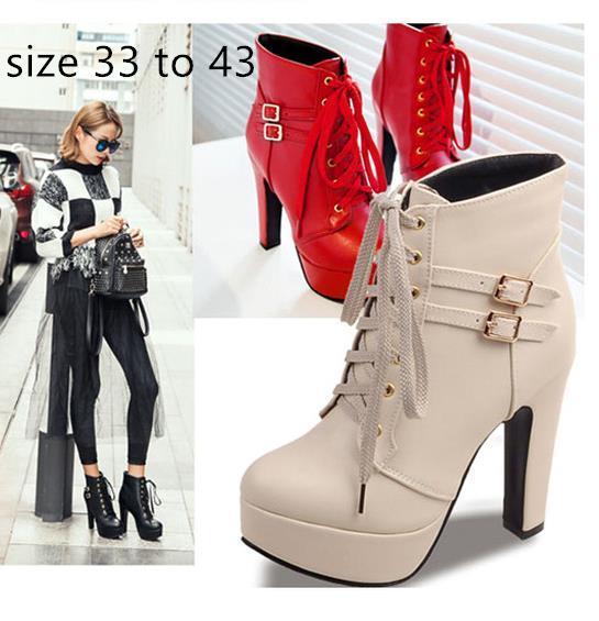 Hot piattaforma fibbia Sale-rosso spessa tacchi alti firmati stivaletti dal design di lusso dimensioni stivali donne da 33 a 42 43