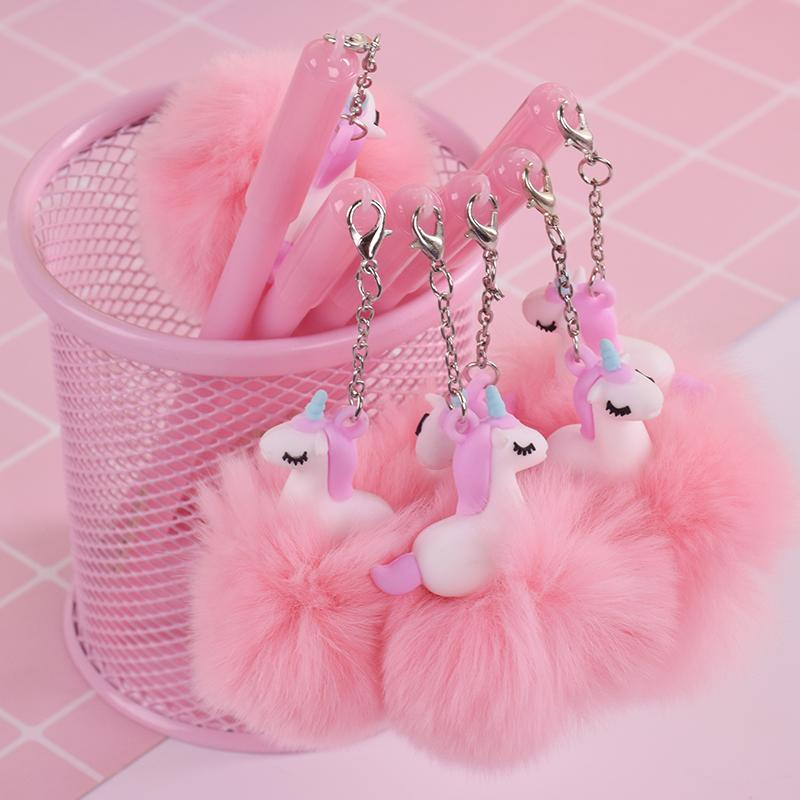 Dibujos animados dulce rosa plumas de gel pompón unicornio pluma WRITTING Canetas staitonery kawaii útiles escolares paperlaria Escolar materiales
