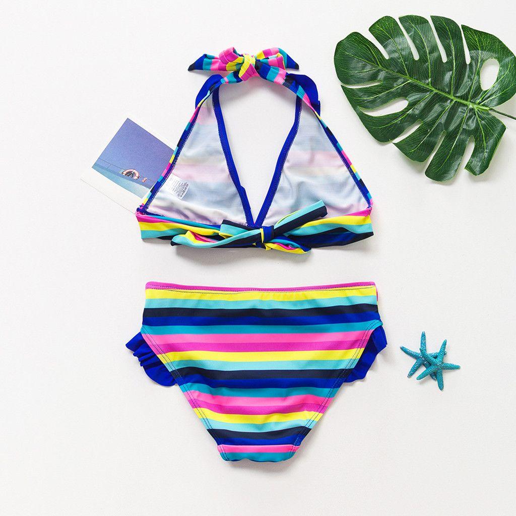 Moda nova moda swimwear meninas adolescentes do arco-íris listrado dois Pieces mangas Folho Swimwear Swimsuit Bikini Outfit L1223