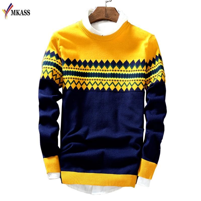 MKASS Brand New maglioni uomini di stile di modo di inverno di autunno Patchwork lavorato a maglia qualità Pullover Uomini Uomini Casual