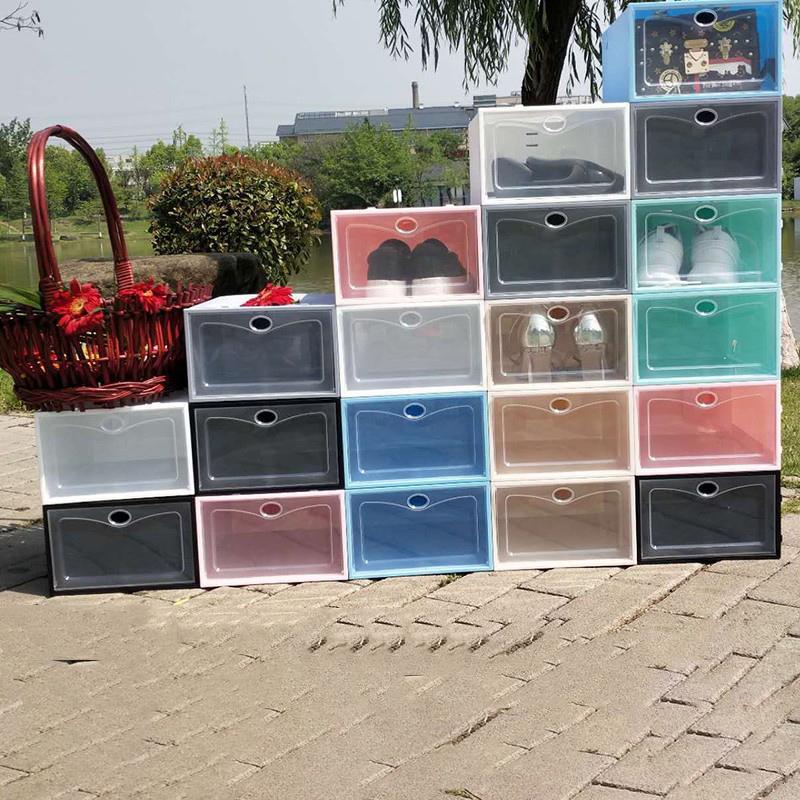 جديد مربع الأحذية رشاقته واضح البلاستيك الغبار حذاء تخزين مربع فليب صناديق الأحذية شفافة لون الحلوى اللون الأحذية المنظم مربع VT1017-1