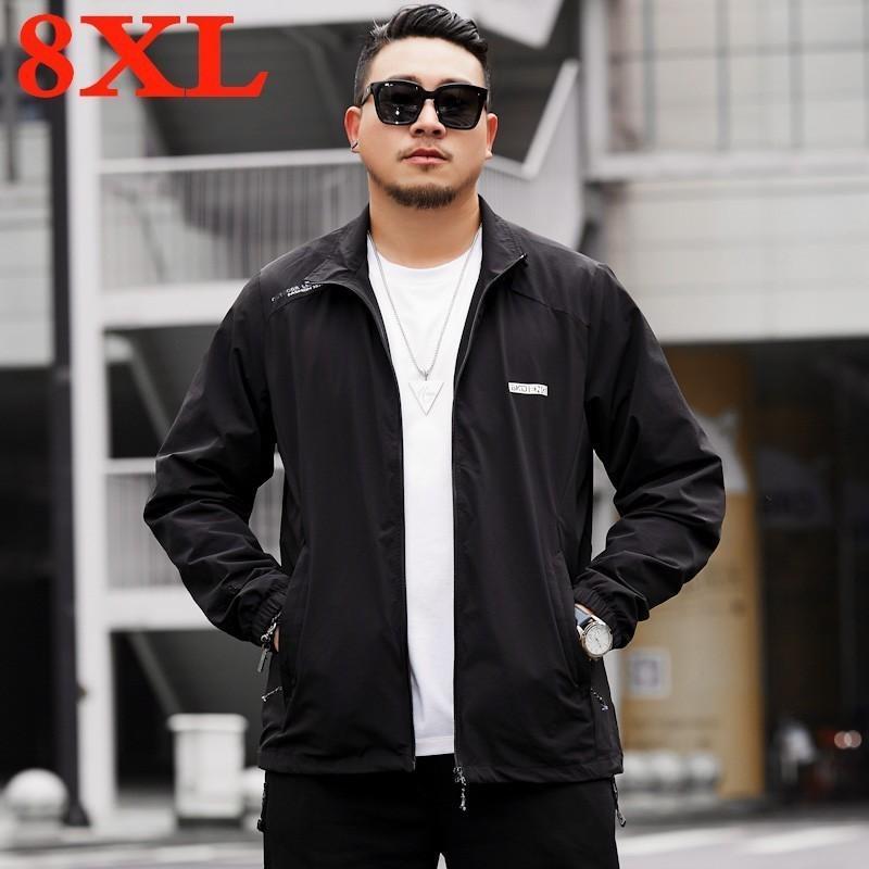Giacche da uomo Plus Size 8xl 7xl 6xl 5xl giacca giacca manica lunga 2021 stand sottile camicia sottile casual gotico nero Goth uomini