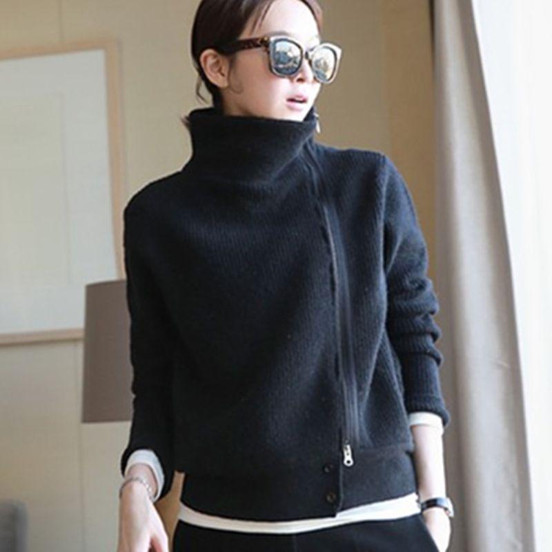 2019 mulheres Sólidos suéter de cashmere espessamento Cardigan Duplo soltas gola feminina camisola Ladies' Knitting Cardigans Y200106