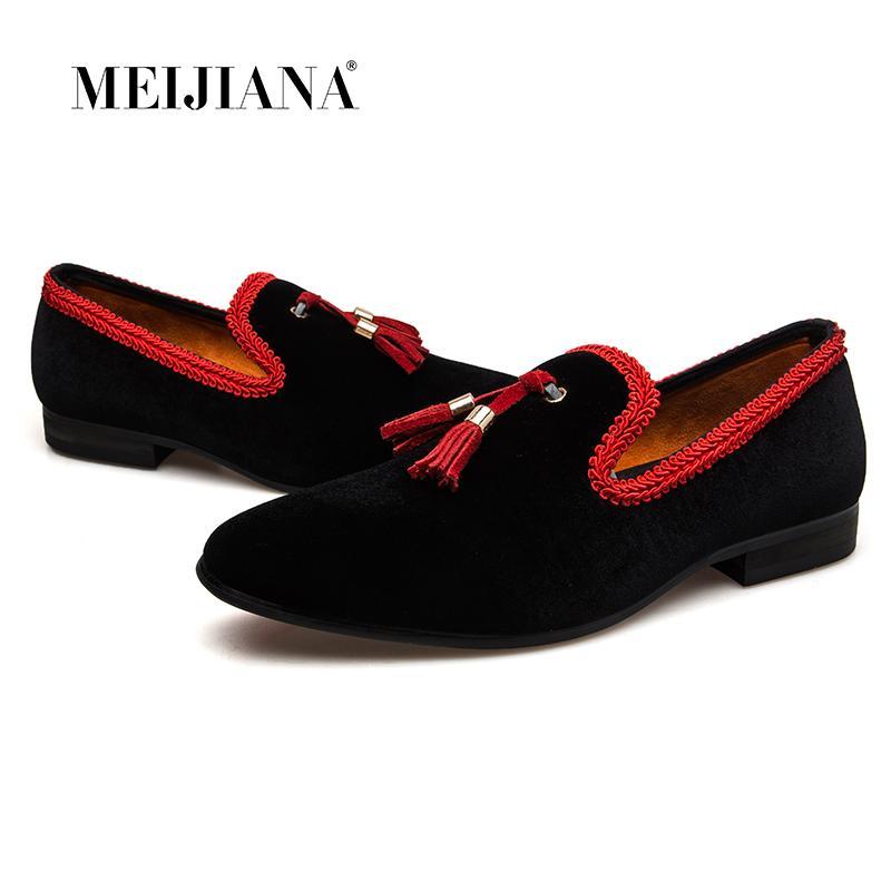 MeiJiaNa 2018 nuovi mocassini da uomo mocassini slip on stile cinese scarpe casual in pelle uomo nero / rosso appartamenti