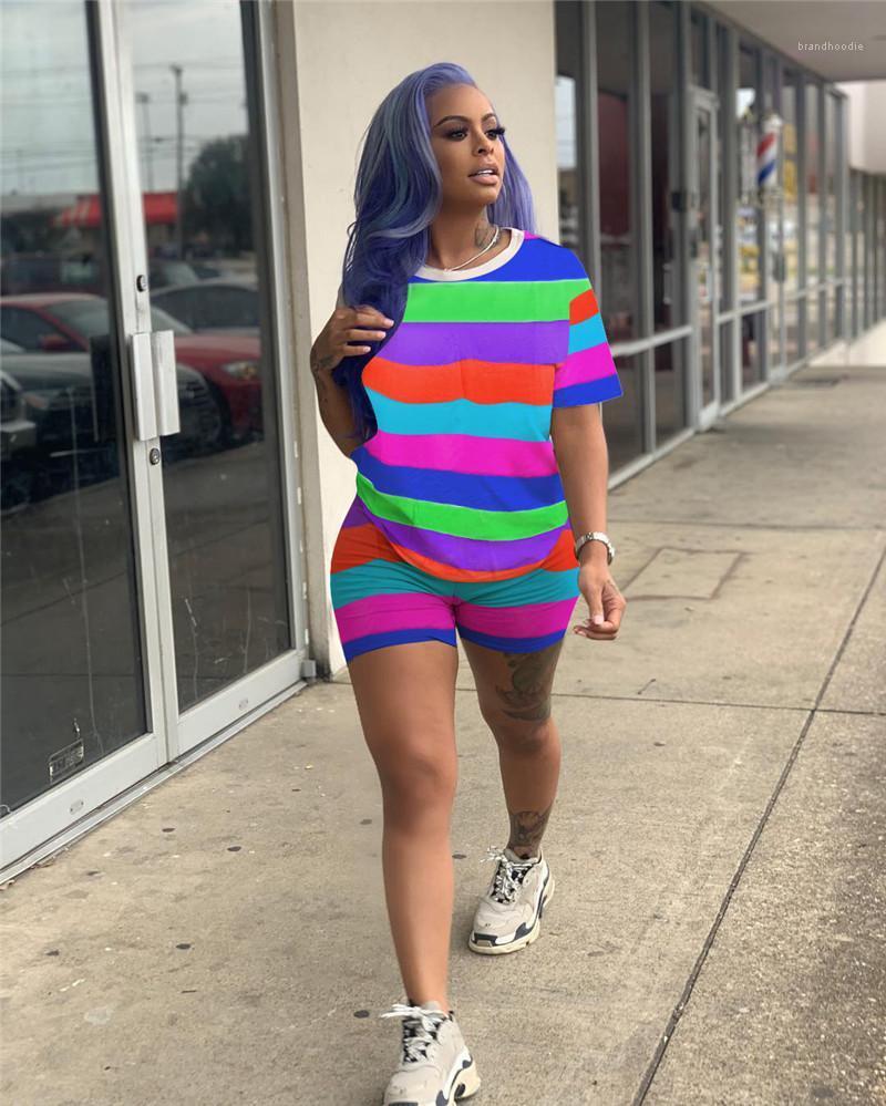 Roupa Define Moda Verão 2pcs ternos Sports Casual arco-íris Faixa Two Piece Set Mulheres Fatos Designer