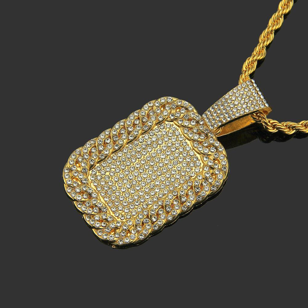 Wholesale-Hip Hop Necklace Diamond Inserted Grand Army Card Man Street Pendant Hot Gold Plated Alloy Pendant