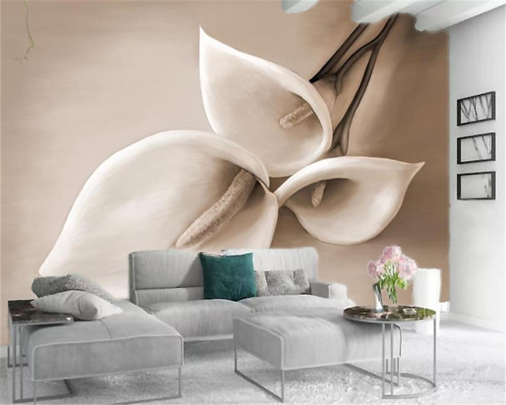Пользовательские фото 3d обои простой трехмерный рельеф Калла Лилия европейский стиль украшения интерьера цветок обои
