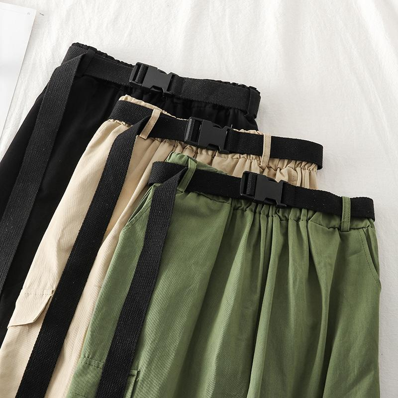 Women Casual Joggers Sweatpants Streetwear Cargo Pants High Waist Loose Female Trousers Korean Pantalon Belt Khaki Army Green